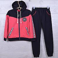 """Спортивный костюм подростковый """"Best"""" для девочек. 7-12 лет. Черный+коралловый. Оптом"""