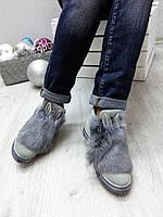 Ботинки женские с ушками и натуральным мехом кролика серые
