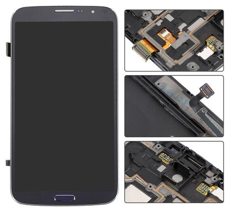 Дисплей (экраны) для Samsung i9200 Galaxy Mega 6.3/i9205 с сенсором (тачскрином) и рамкой синий Оригинал, фото 2