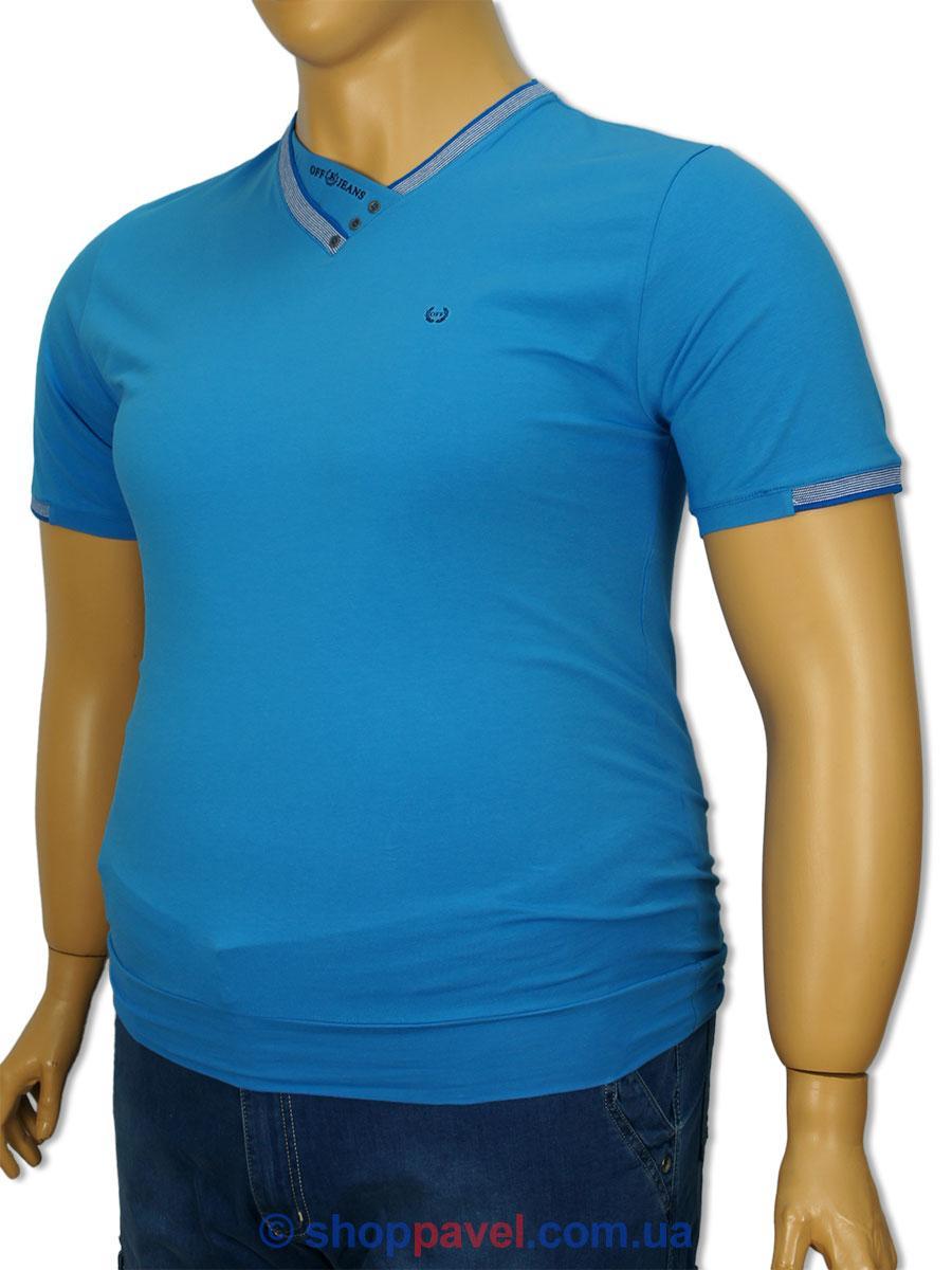 Футболка мужская Off 4028 синяя больших размеров
