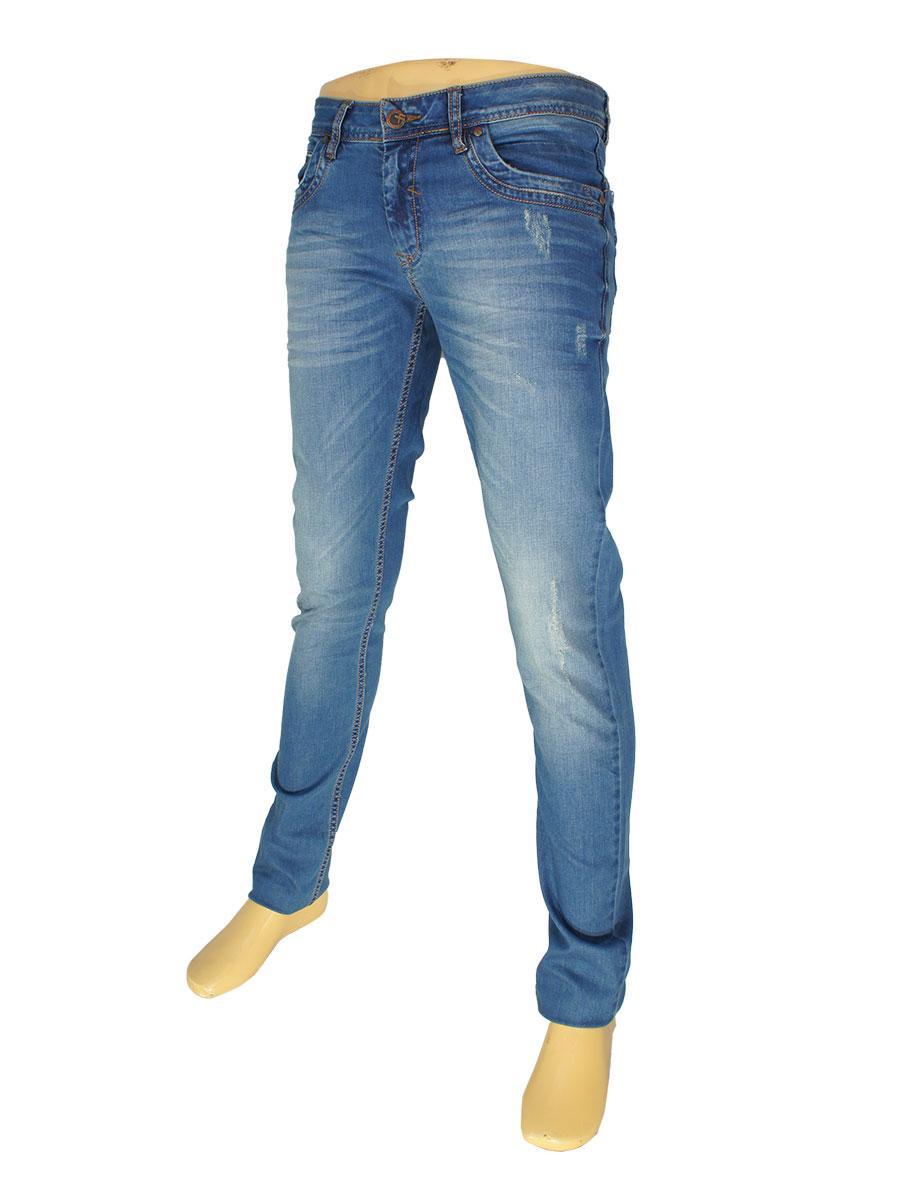 Стильные мужские джинсы X-Foot 262-2218 с потертостями