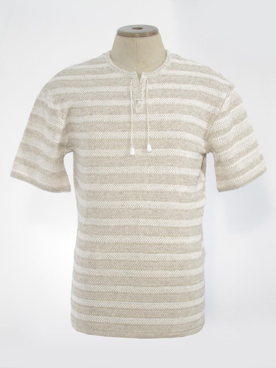 Вязаная рубашка в полоску с коротким рукавом
