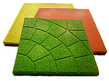 Резиновая плитка 500х500х30 зелёная