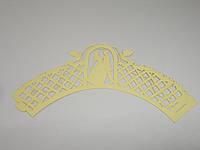 """Ажурная декоративная накладка для маффинов """"Свадебная арка золото"""" h 5 см"""