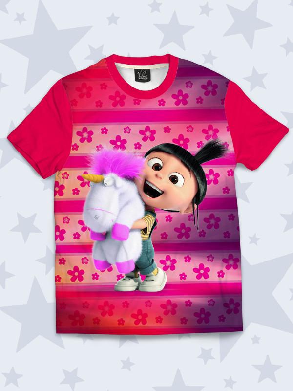 Детская 3D футболка Агнес с красочным рисунком. Футболка для девочки на  каждый день. Размеры 63e98251b95