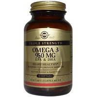 Рыбий жир, Омега - 3 (Omega-3, EPA DHA), Solgar, 950 мг, 50 кап.