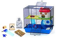 Клетка для хомяка, мыши, грызунов + опилки + корм