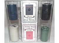 Набор для игры в покер (100 фишек + 2 колоды карт) I5-32, покерный набор, набор фишек для игры в покер