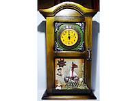 Ключница + часы KC233C, ключница на 4 крючка в морском стиле, деревянный шкафчик для хранения ключей
