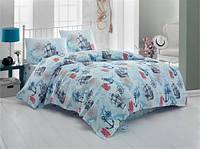 Качественное Двуспальное постельное белье Eponj Home MARINE TURKUAZ SV10