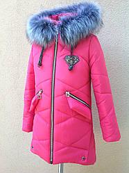 Зимнее пальто с меховой подстежкой для девочек рост 144-150