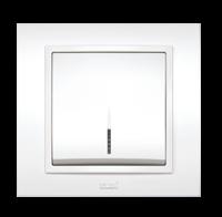 EL-BI Zena Выключатель 1-й белый с подстветкой