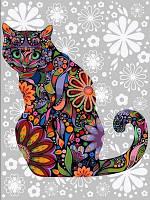 Живопись по номерам Турбо Цветочный кот (в пол оборота) (VK169) 30 х 40 см