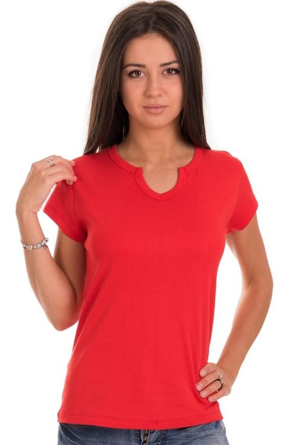 Красная футболка женская спортивная на лето с коротким рукавом однотонная хб трикотажная большая Украина