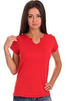 Красная яркая футболка женская спортивная на лето с коротким рукавом однотонная хб трикотажная большая