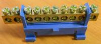 Шина нулевая с изолятором на дин-рейку (din-рейку) 10 отверстий