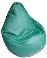 Зеленое кресло-мешок груша 120*90 см из кож зама Зевс