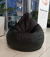Черное кресло-мешок груша 120*90 см из кож зама Зевс