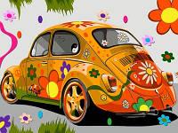 Картина раскраска Турбо Назад в 60-е (оранжевая машина) (VK172) 30 х 40 см