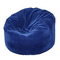 Велюровое синее большое кресло-мешок
