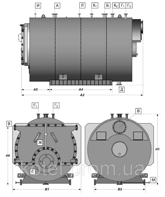 Схема газового жаротрубного трехходового котла Колви 5000Т