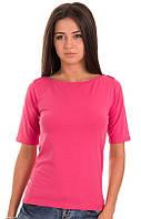 Розовая футболка женская летняя с коротким рукавом без рисунка хлопок хб стрейч трикотажная (Украина)