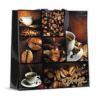 Полипропиленовая сумка хозяйственная  с цветным рисунком (40*40) Кофе Брейк (10 шт)