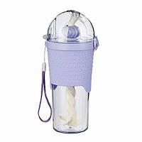 Бутылочка для воды с трубочкой и шейкером, фиолетовая