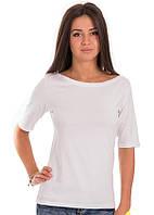 Белая футболка женская летняя с коротким рукавом без рисунка хлопок хб стрейч трикотажная (Украина)