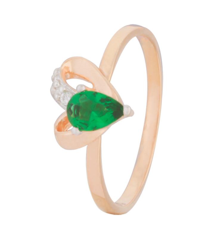 """Серебряное кольцо с имитацией изумруда """"038"""""""