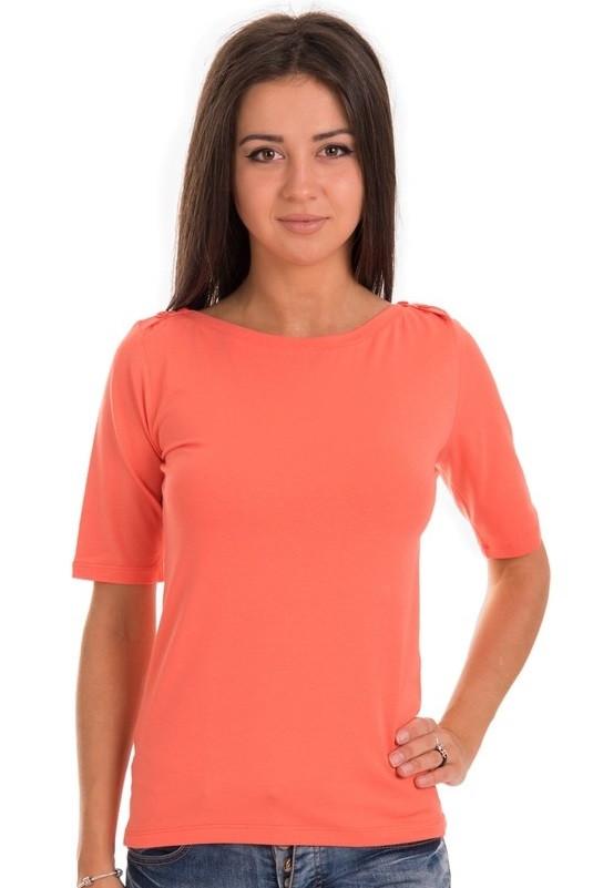 Коралловая футболка женская летняя с коротким рукавом без рисунка хлопок хб стрейч трикотажная Украина