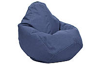 Синее кресло-мешок груша 100*75 см из микро-рогожки джинсовое