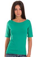 Изумрудная футболка женская летняя с коротким рукавом без рисунка хлопок хб стрейч трикотажная (Украина)