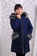 Теплая и красивая Зимняя куртка-пальто на флисовой подкладке 122-146р