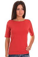 Красная футболка женская летняя с коротким рукавом без рисунка хлопок хб стрейч трикотажная (Украина)