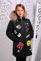 Зимняя куртка-пальто на флисовой подкладке для девочек122-146р