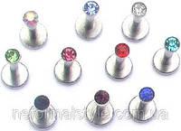 Украшение для пирсинга губы (внутренняя накрутка) с кристаллом (10 цветов)