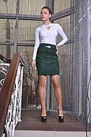 Серая модная юбка женская в трикотаже Люси Размер 48