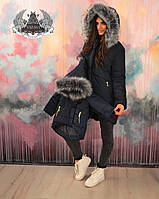 """Зимняя женская куртка с капюшоном из чернобурки, на плотной плащевке и синтепон 200, """"БАТАЛ"""" И """"НОРМА"""", черная"""