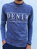 Чоловічий джемпер з пинтом написи в кольорі синій джинс, фото 2