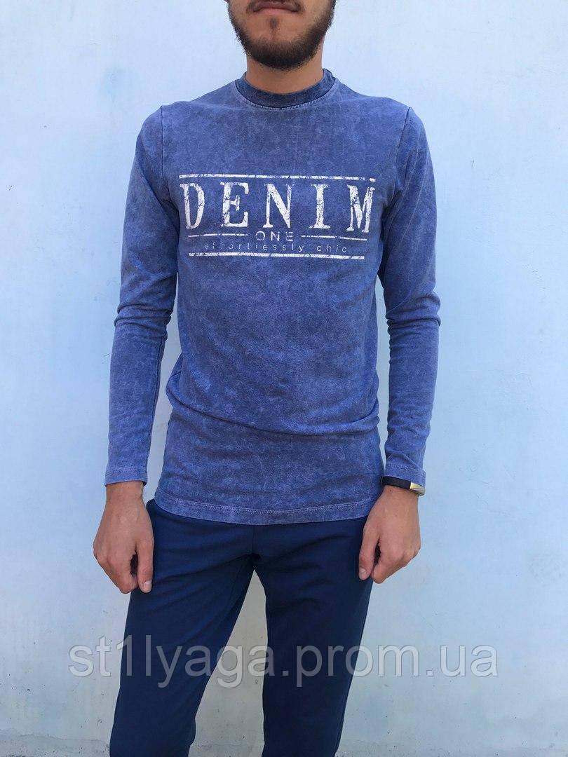 Чоловічий джемпер з пинтом написи в кольорі синій джинс