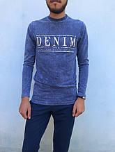 Мужской джемпер с пинтом надписи в цвете синий джинс