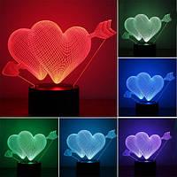 """3D LED светильник """"Два сердца с стрелой"""""""