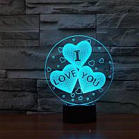 """3D LED светильник """"Круг с тремя сердцами и надпись """"I Love You"""""""
