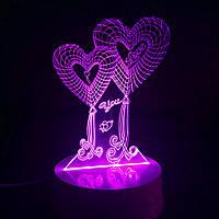 """3D LED светильник """"Два сердца"""""""