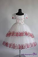 Детское пышное нарядное платье (белое с красным) (артикул 3/106)