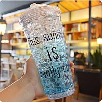 Бутылочка летняя для воды и напитков Ice Cup. Голубая