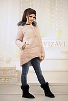 Удлиненная женская куртка с мехом из чернобурки на капюшоне, синтепон 200, беж