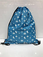 Рюкзак 2627 для сменной обуви спортивный школьный на шнурках голубой с принтом
