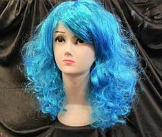 Карнавальный парик Мальвины голубой 50 см